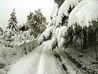 příjezdová cesta v zimě - pronájem chalupy Mosty u Jablůnkova - Šance