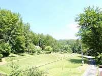 výhled východním směrem z horní ložnice -cyklostezka na Javorový - Řeka