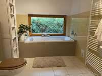 1. větší koupelna s výhledem do zahrady a lesa - Guty