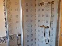 Sprchový kout v koupelně u ložnic - chalupa k pronájmu Komorní Lhotka