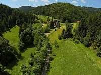 karavan je umístněn na konci udržované zahrady u Vily Anna - chatky k pronajmutí Halenkov