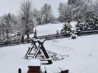 Zimní krajiny u chalupy - pronájem chaty Valašská Bystřice