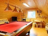 Společenská místnost s billiardovým stolem.