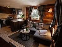 Obývací pokoj s kuchyňí - chata k pronajmutí Horní Bečva