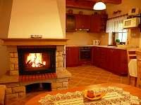 Přízemí - obývací místnost s krbem a kuchyňským koutem - chata k pronajmutí Velké Karlovice
