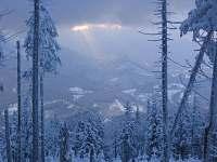 pohled z Lysé hory na sjezdovku - pronájem chalupy Ostravice