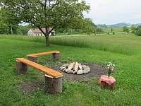 Venkovní ohniště - chalupa k pronajmutí Kozlovice