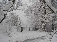 vstupní brána k chalupě s potokem