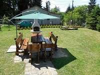 U chaty je oplocená zahrada