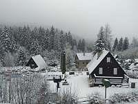 Zimní výhled z chaty - k pronájmu Rajnochovice