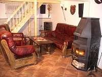 Vinárna - obývací pokoj s krbem, Hi-Fi a plasmovou TV/SAT - chata k pronájmu Visalaje
