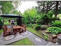 Zahradní posezení s krbem a slunečníkem v romantické zahradě