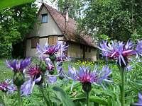 Bylinková chaloupka v pohledu z květinové zahrady - chata ubytování Frýdlant nad Ostravicí