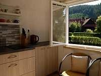 Valašská chalupa, pohled z kuchyně - léto