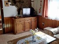 V obývacím pokoji je krb s rozvody do všech ložnic - chata ubytování Ostravice