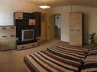 Hlavní pokoj s manželskou postelí a TV - apartmán k pronájmu Hnojník