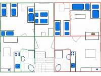 červeně apartmá 1,  zeleně apartmá 2