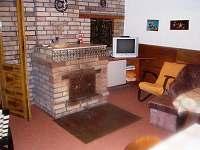 společenská místnost s krbem - chata k pronajmutí Jetřichovice
