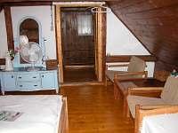 ložnice v podkroví pohled od oken