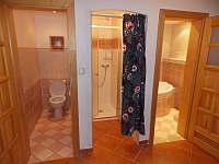 WC, sprcháč a koupelna dole