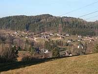 Pohled na vesničku zasazenou do krajiny