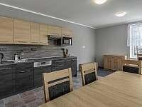 Kuchyň s jídelnou v přízemí - pronájem apartmánu Malá Skála