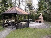 venkovní posezení s grilem - chata k pronajmutí Branžež