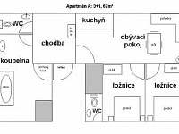 plánek apartmánu A - Mírová pod Kozákovem