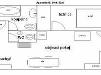 plánek apartmánu B - k pronájmu Mírová pod Kozákovem