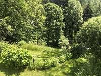 Pohled do spodní zahrady - chalupa ubytování Skalany