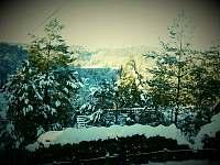 Zimni vyhled do krajiny na Jested a na Sychrovsky viadukt - chalupa k pronajmutí Radimovice
