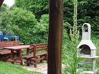 zahradní krb s posezením + ohniště za krbem - Uhlíře