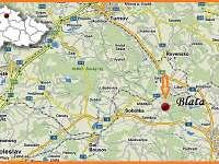 mapa - chalupa k pronajmutí Blata