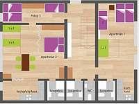 Rozmístění pokojů v 1.podlaží - Kopanina