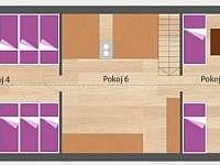 Rozmístění pokojů ve 2.podlaží - Kopanina