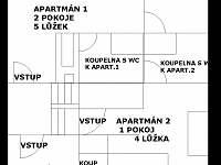 Náčrt patra chaty - Mírová pod Kozákovem - Hrachovice