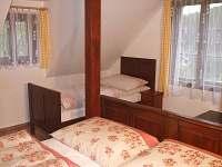Čtyřlůžkový pokoj s manželskou postelí a jednolůžko.