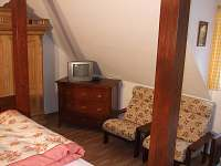 Čtyřlůžkový pokoj s menší TV.