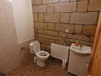 Chalupa Vesec toaleta společenská místnost -