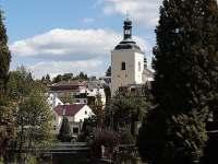 Řeka Jizera s Mikulášským kostelem v pozadí - apartmán ubytování Turnov