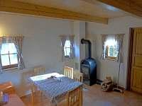 Obývací místnost s krbovými kamny, televizí a posezením.
