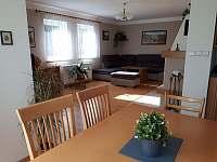 obývací pokoj s TV a krbem - rekreační dům k pronájmu Březina