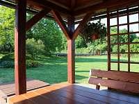 Výhled z pergoly do zahrady