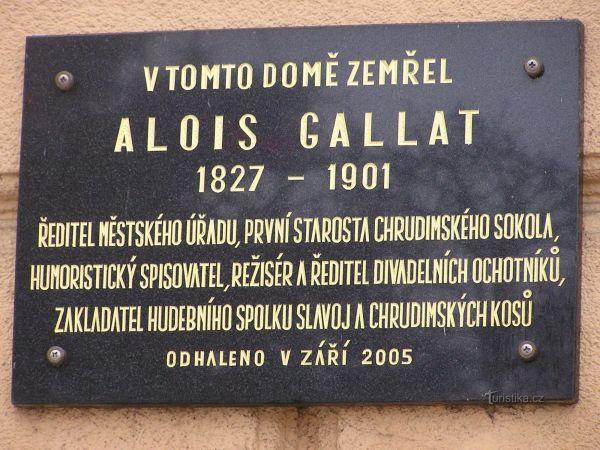 Chrudim - Pamětní deska Aloise Gallata
