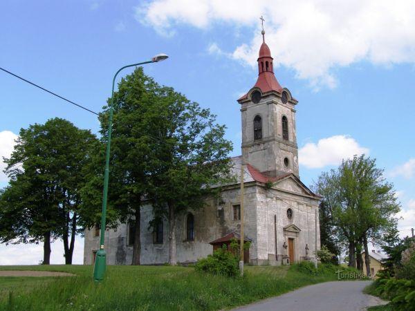 Nebeská Rybná - kostel sv. Filipa a Jakuba