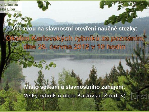 Nová naučná stezka mezi Karlovskými rybníky a jejich okolím