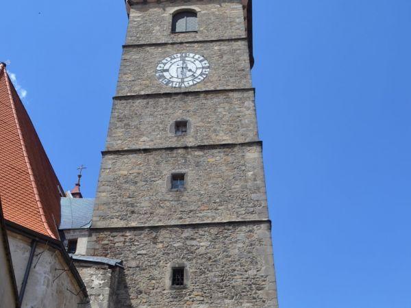 Slavonice - Mestská veža kostola Nanebovzatia Panny Márie