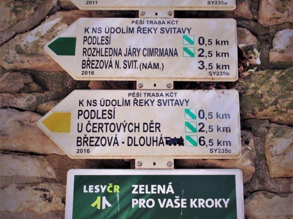 Turistické rozcestí Březová nad Svitavou - železniční stanice