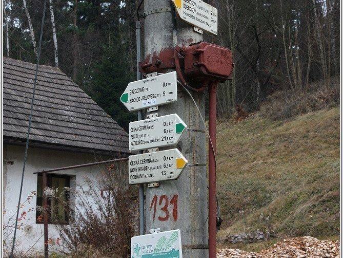 Turistické rozcestí Česká Čermná, hranice
