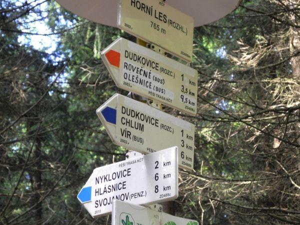 Turistické rozcestí Horní les